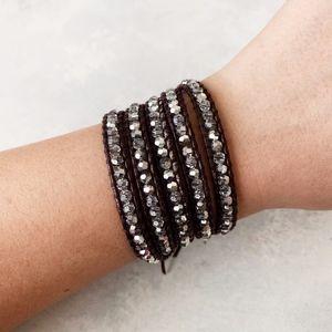Chan Luu Swarovski Crystal Maroon Wrap Bracelet